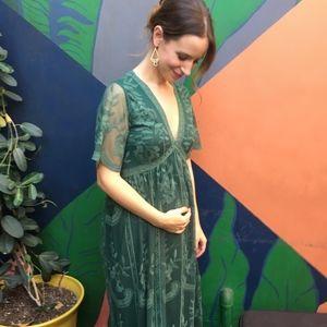 Maternity lace maxi dress